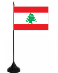 Lebanon Desk / Table Flag with plastic stand and base.
